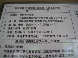 七味温泉渓山亭の温泉分析表